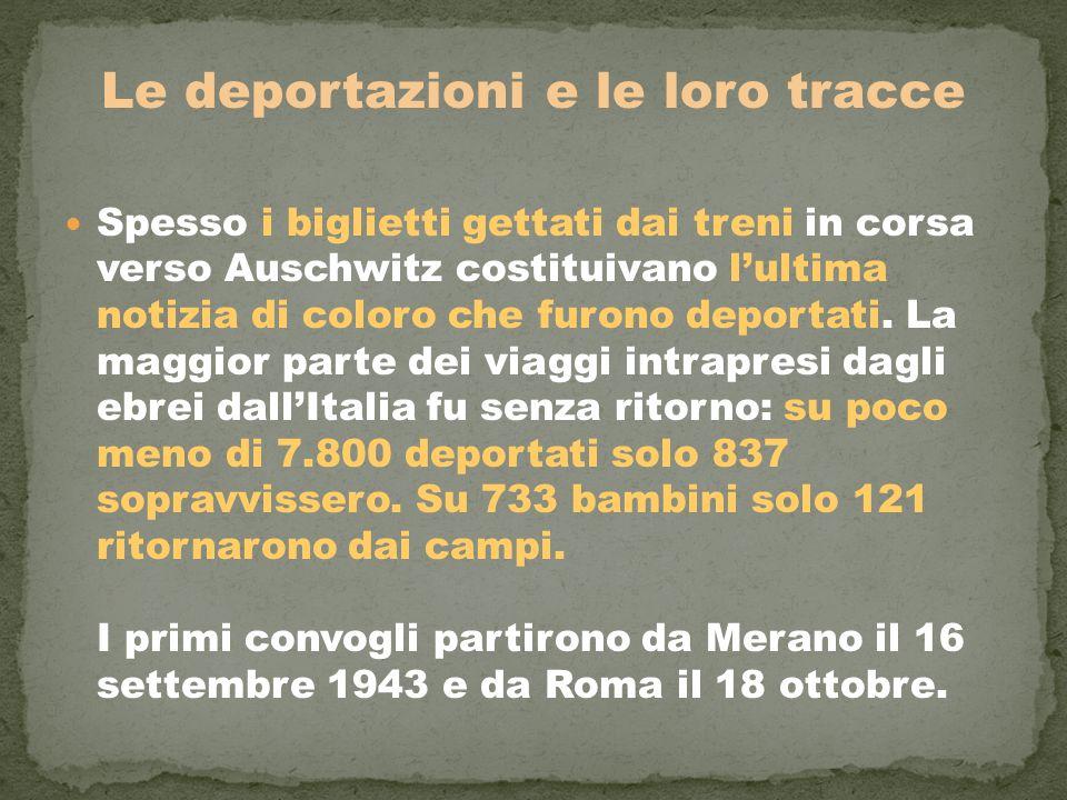 Le deportazioni e le loro tracce Spesso i biglietti gettati dai treni in corsa verso Auschwitz costituivano l'ultima notizia di coloro che furono depo