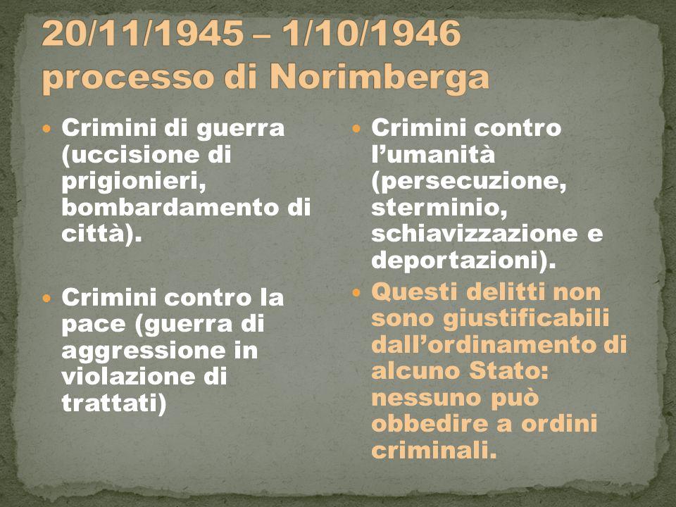 Crimini di guerra (uccisione di prigionieri, bombardamento di città). Crimini contro la pace (guerra di aggressione in violazione di trattati) Crimini