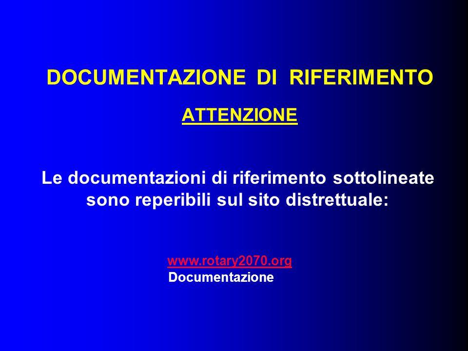 DOCUMENTAZIONE DI RIFERIMENTO ATTENZIONE Le documentazioni di riferimento sottolineate sono reperibili sul sito distrettuale: www.rotary2070.org Documentazione