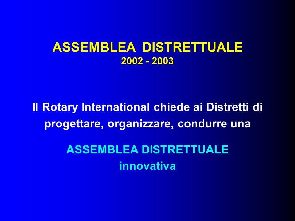 ASSEMBLEA DISTRETTUALE 2002 - 2003 Si presentano le giustificazioni logiche delle innovazioni raccomandate dal R.I., basate su tre riferimenti: - PIANIFICAZIONE (cosa fare) - EFFICIENZA (come fare) - STRUTTURE OPERATIVE (chi fa)