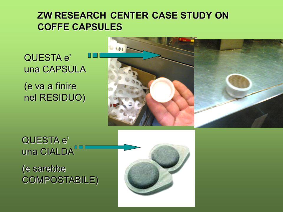ZW RESEARCH CENTER CASE STUDY ON COFFE CAPSULES QUESTA e' una CAPSULA (e va a finire nel RESIDUO) QUESTA e' una CIALDA (e sarebbe COMPOSTABILE)