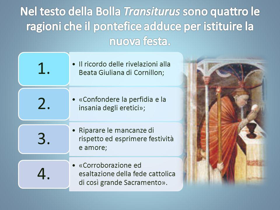 Il ricordo delle rivelazioni alla Beata Giuliana di Cornillon; 1.
