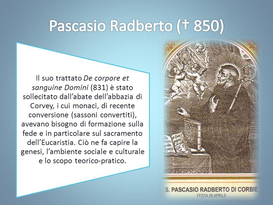 Le teorie di Pascasio suscitano reazioni soprattutto tra i teologi; per questo l'imperatore Carlo il Calvo invitò Ratramno a esporre la sua opinione.