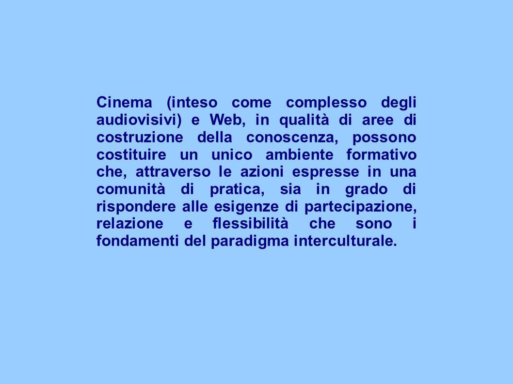 Cinema (inteso come complesso degli audiovisivi) e Web, in qualità di aree di costruzione della conoscenza, possono costituire un unico ambiente formativo che, attraverso le azioni espresse in una comunità di pratica, sia in grado di rispondere alle esigenze di partecipazione, relazione e flessibilità che sono i fondamenti del paradigma interculturale.