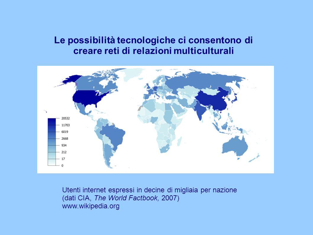Le possibilità tecnologiche ci consentono di creare reti di relazioni multiculturali Utenti internet espressi in decine di migliaia per nazione (dati CIA, The World Factbook, 2007) www.wikipedia.org