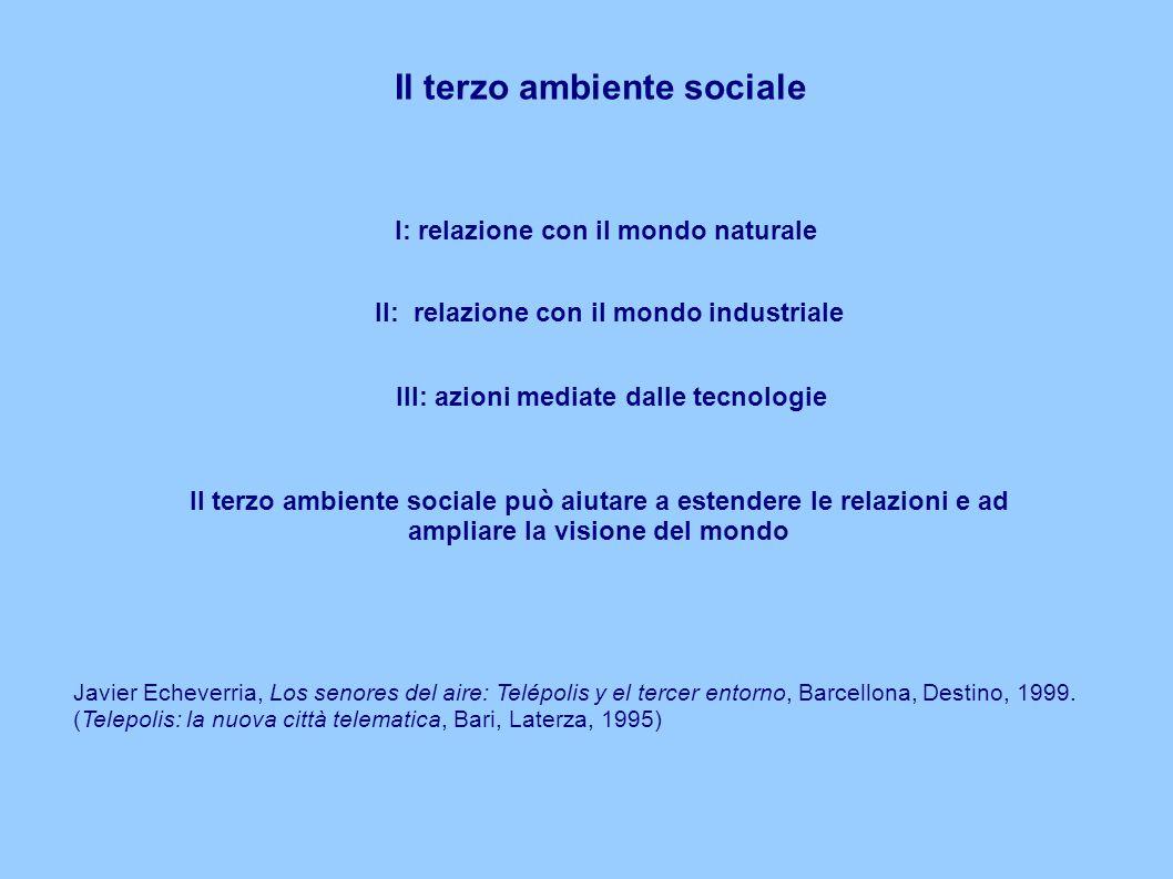 Il terzo ambiente sociale I: relazione con il mondo naturale Il: relazione con il mondo industriale III: azioni mediate dalle tecnologie Javier Echeverria, Los senores del aire: Telépolis y el tercer entorno, Barcellona, Destino, 1999.
