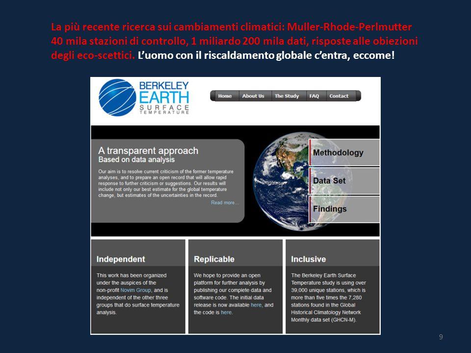 9 La più recente ricerca sui cambiamenti climatici: Muller-Rhode-Perlmutter 40 mila stazioni di controllo, 1 miliardo 200 mila dati, risposte alle obiezioni degli eco-scettici.