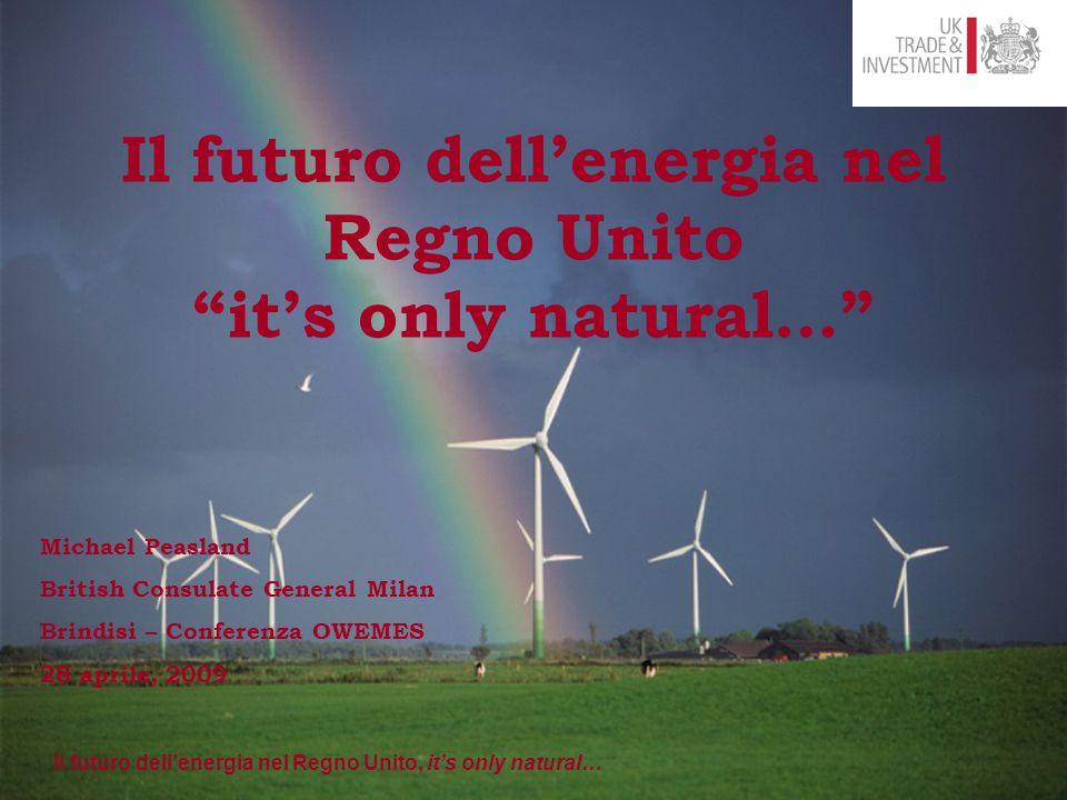 Il futuro dell'energia nel Regno Unito, it's only natural… Kentish Flats Project 30 Turbines 60 MW Il Futuro dell'energia nel Regno Unito.