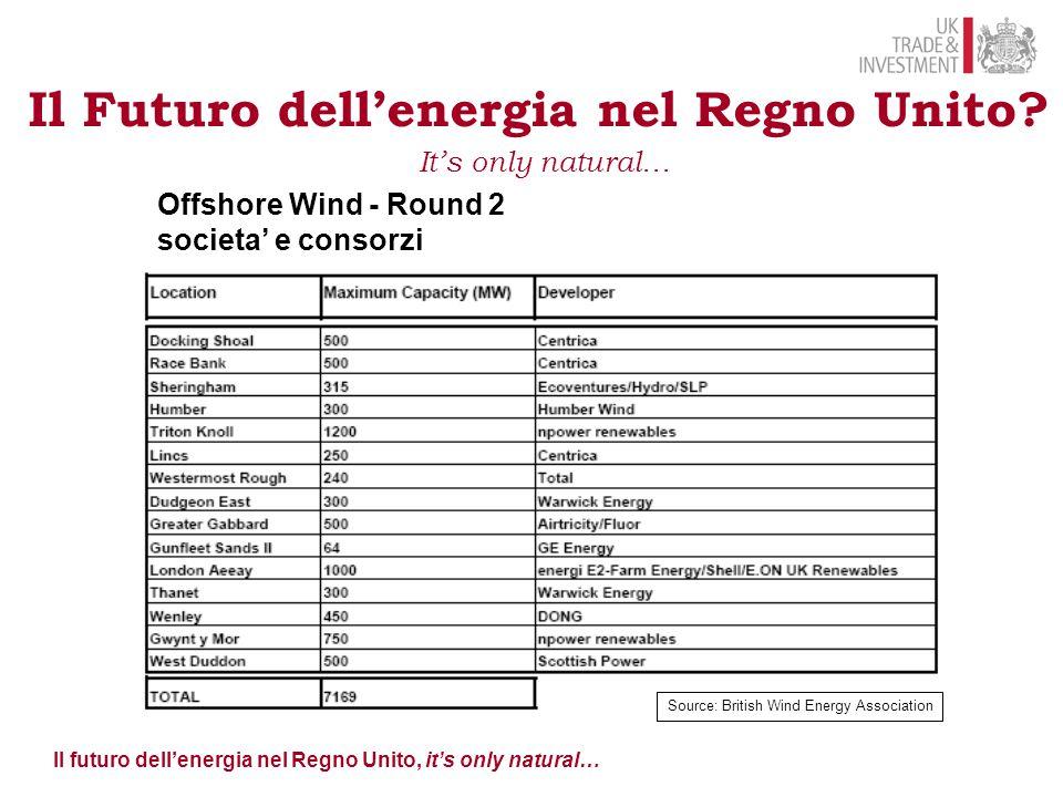 Il futuro dell'energia nel Regno Unito, it's only natural… Il Futuro dell'energia nel Regno Unito? It's only natural… Offshore Wind - Round 2 societa'
