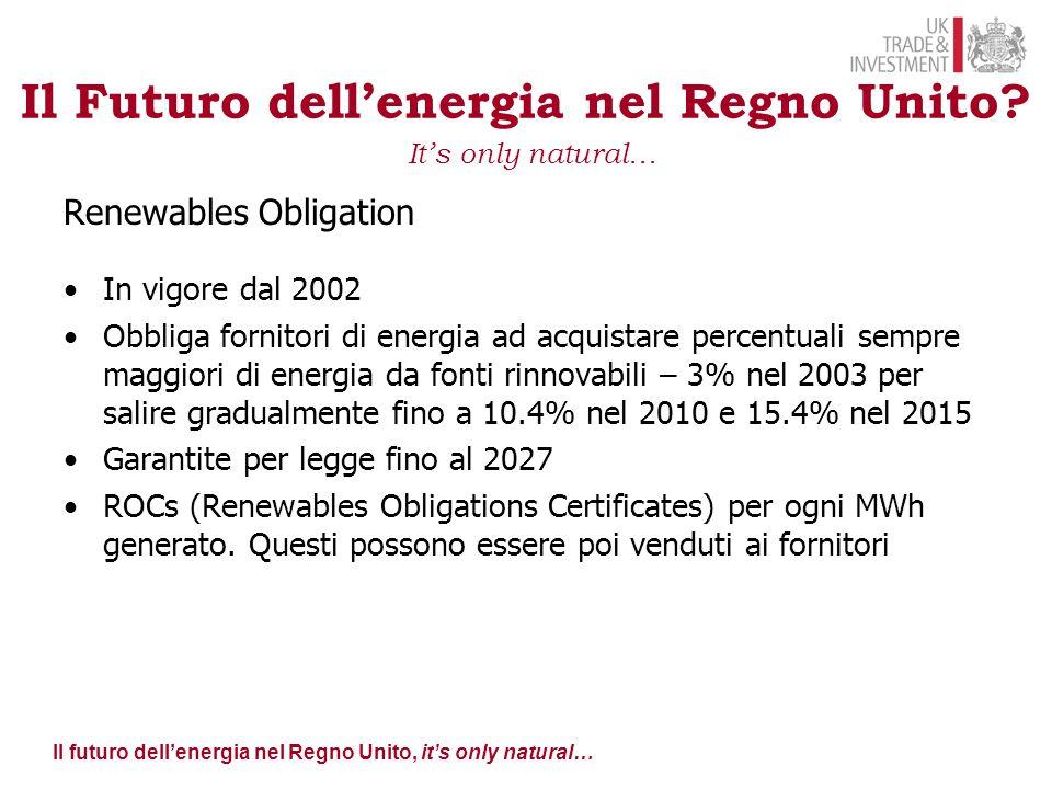 Il futuro dell'energia nel Regno Unito, it's only natural… Source: BERR: Renewable Obligation Consultation – Government Response – January 2008 Il Futuro dell'energia nel Regno Unito.