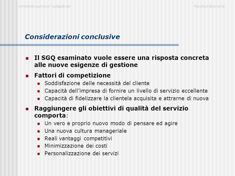 Considerazioni conclusive Il SGQ esaminato vuole essere una risposta concreta alle nuove esigenze di gestione Fattori di competizione Soddisfazione de