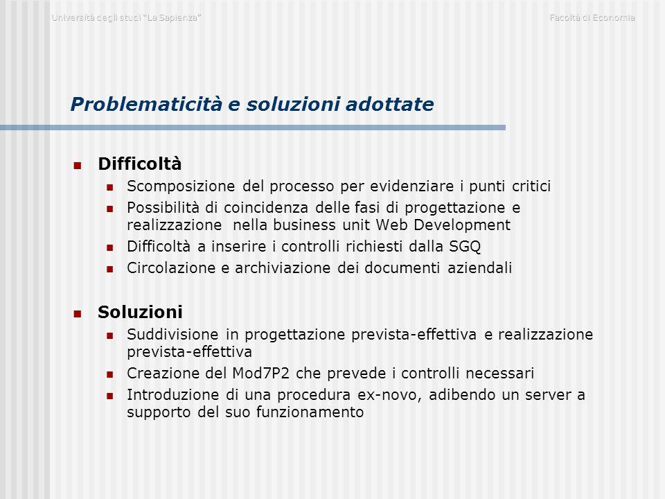 Problematicità e soluzioni adottate Difficoltà Scomposizione del processo per evidenziare i punti critici Possibilità di coincidenza delle fasi di pro
