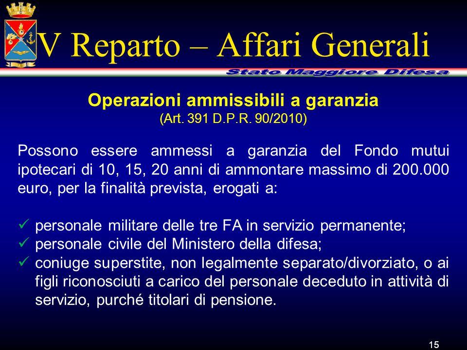 V Reparto – Affari Generali Possono essere ammessi a garanzia del Fondo mutui ipotecari di 10, 15, 20 anni di ammontare massimo di 200.000 euro, per l