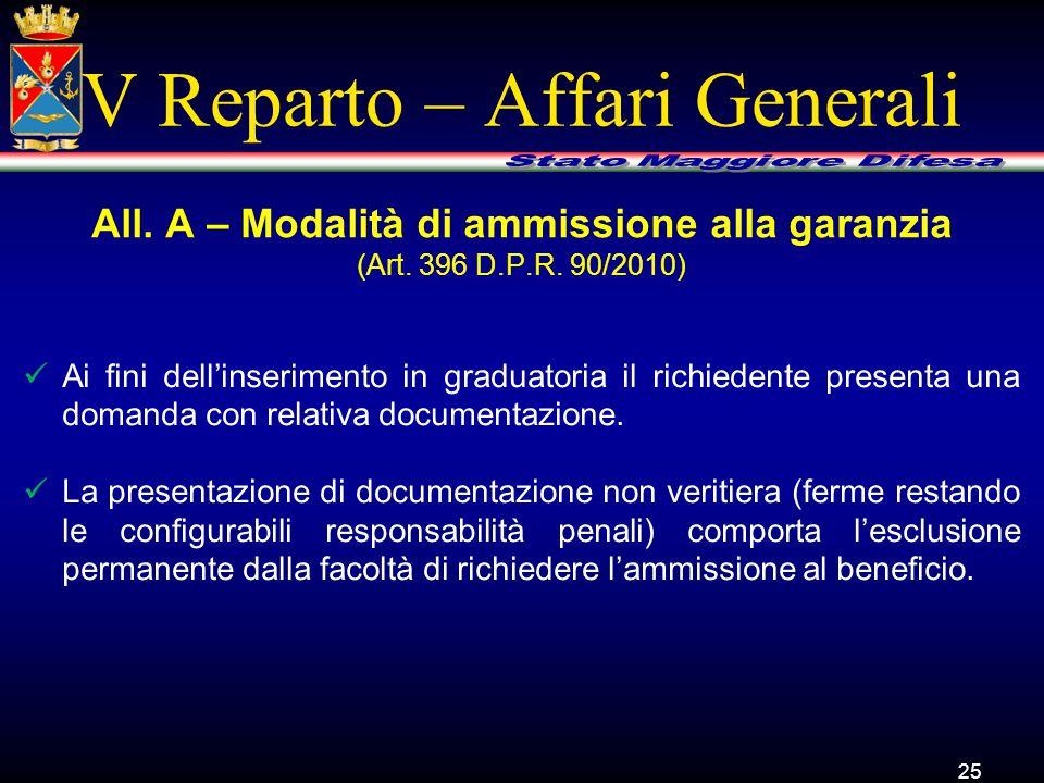 V Reparto – Affari Generali Ai fini dell'inserimento in graduatoria il richiedente presenta una domanda con relativa documentazione. La presentazione