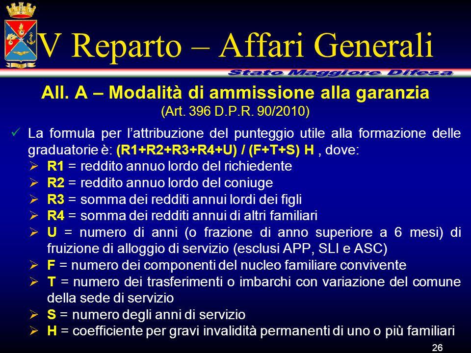 V Reparto – Affari Generali La formula per l'attribuzione del punteggio utile alla formazione delle graduatorie è: (R1+R2+R3+R4+U) / (F+T+S) H, dove:  R1 = reddito annuo lordo del richiedente  R2 = reddito annuo lordo del coniuge  R3 = somma dei redditi annui lordi dei figli  R4 = somma dei redditi annui di altri familiari  U = numero di anni (o frazione di anno superiore a 6 mesi) di fruizione di alloggio di servizio (esclusi APP, SLI e ASC)  F = numero dei componenti del nucleo familiare convivente  T = numero dei trasferimenti o imbarchi con variazione del comune della sede di servizio  S = numero degli anni di servizio  H = coefficiente per gravi invalidità permanenti di uno o più familiari 26 All.