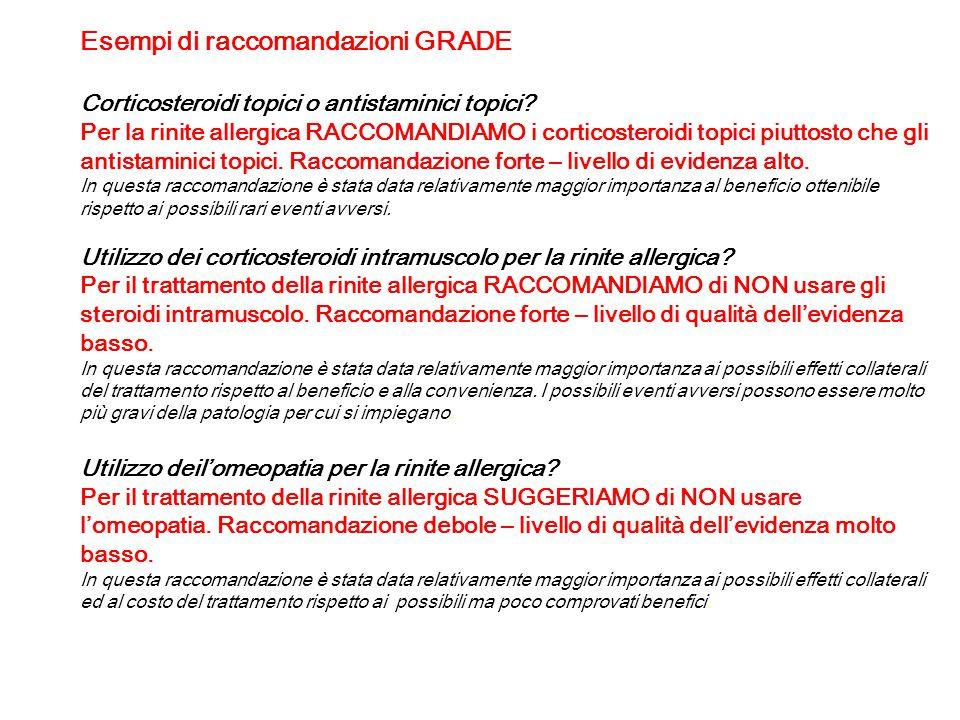 Esempi di raccomandazioni GRADE Corticosteroidi topici o antistaminici topici? Per la rinite allergica RACCOMANDIAMO i corticosteroidi topici piuttost