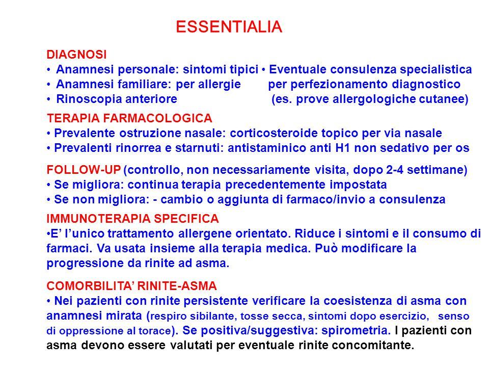 DIAGNOSI Anamnesi personale: sintomi tipici Anamnesi familiare: per allergie Rinoscopia anteriore ESSENTIALIA Eventuale consulenza specialistica per p