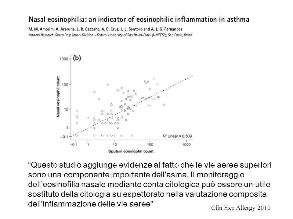 """""""Questo studio aggiunge evidenze al fatto che le vie aeree superiori sono una componente importante dell'asma. Il monitoraggio dell'eosinofilia nasale"""