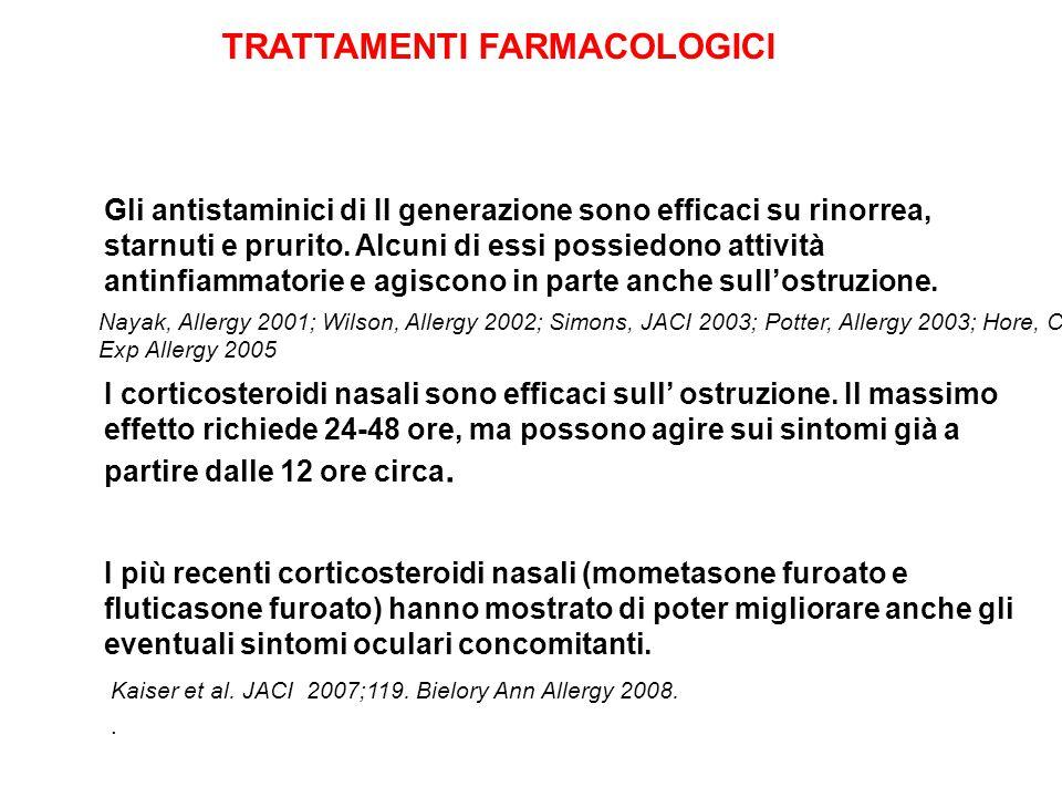 Gli antistaminici di II generazione sono efficaci su rinorrea, starnuti e prurito. Alcuni di essi possiedono attività antinfiammatorie e agiscono in p