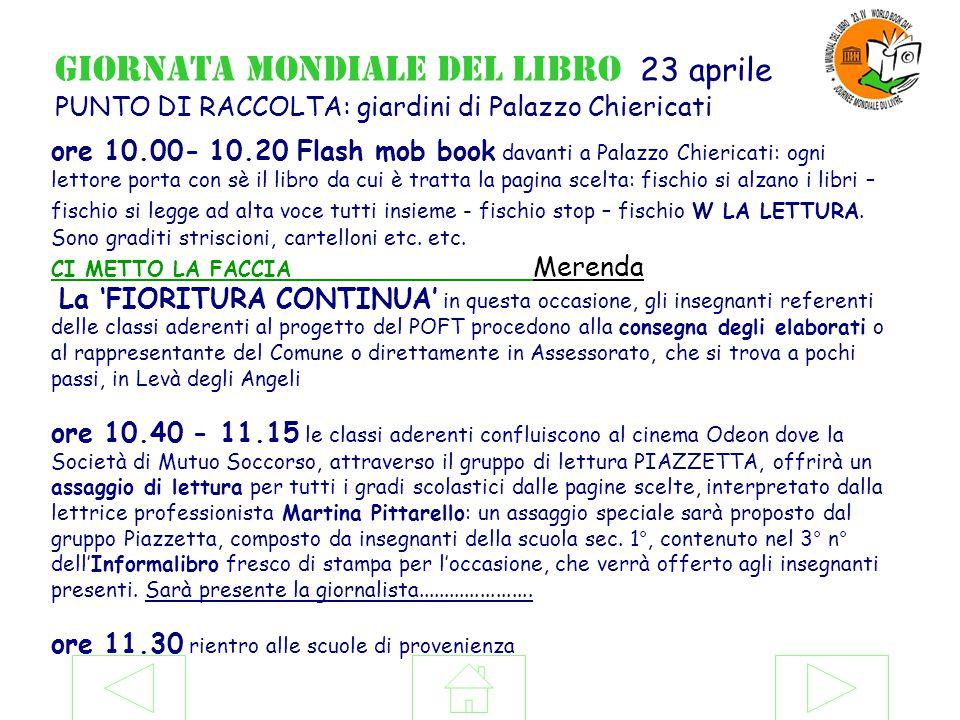 ore 10.00- 10.20 Flash mob book davanti a Palazzo Chiericati: ogni lettore porta con sè il libro da cui è tratta la pagina scelta: fischio si alzano i