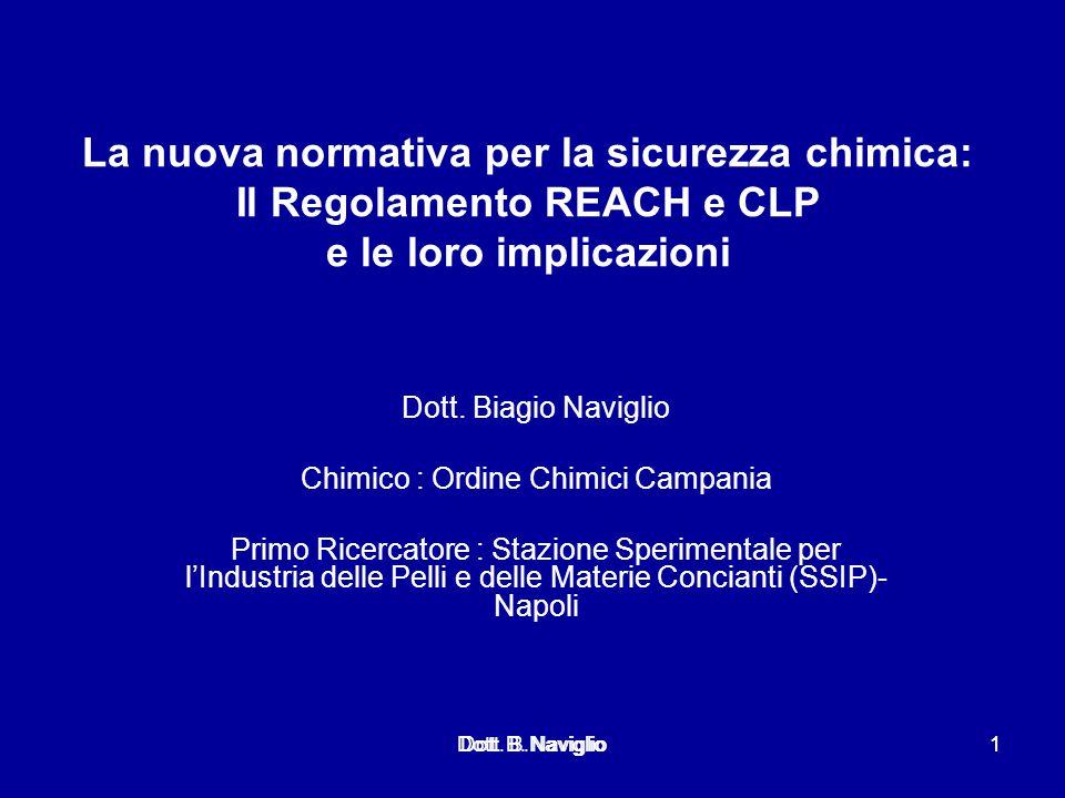 La nuova normativa per la sicurezza chimica: Il Regolamento REACH e CLP e le loro implicazioni Dott. Biagio Naviglio Chimico : Ordine Chimici Campania