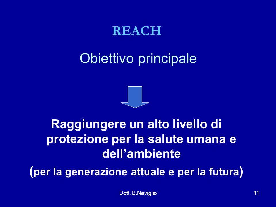 Obiettivo principale Raggiungere un alto livello di protezione per la salute umana e dell'ambiente ( per la generazione attuale e per la futura ) REAC