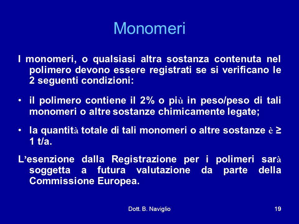 Monomeri I monomeri, o qualsiasi altra sostanza contenuta nel polimero devono essere registrati se si verificano le 2 seguenti condizioni: il polimero