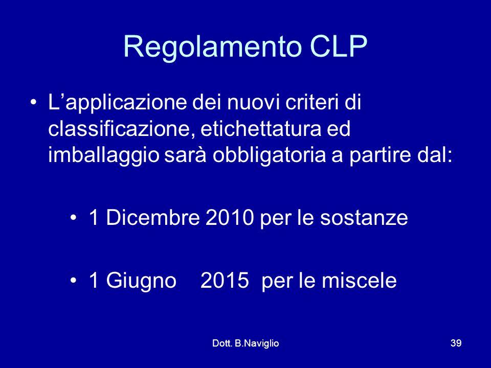 Regolamento CLP L'applicazione dei nuovi criteri di classificazione, etichettatura ed imballaggio sarà obbligatoria a partire dal: 1 Dicembre 2010 per