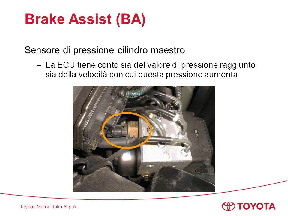 Toyota Motor Italia S.p.A. Brake Assist (BA) Sensore di pressione cilindro maestro –La ECU tiene conto sia del valore di pressione raggiunto sia della
