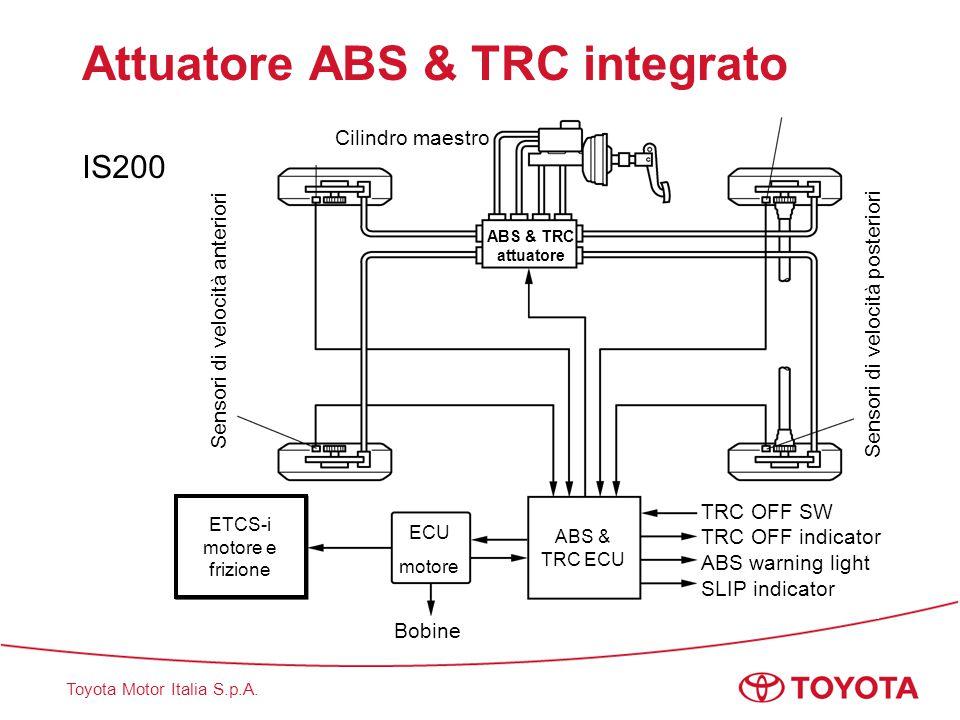 Toyota Motor Italia S.p.A. Attuatore ABS & TRC integrato IS200 Sensori di velocità anteriori Sensori di velocità posteriori ABS & TRC attuatore ABS &