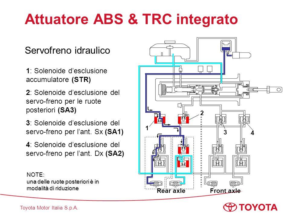 Toyota Motor Italia S.p.A. 1 2 1: Solenoide d'esclusione accumulatore (STR) 2: Solenoide d'esclusione del servo-freno per le ruote posteriori (SA3) 3: