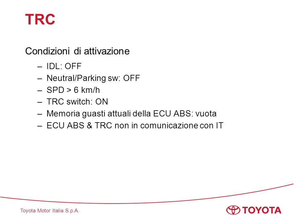 Toyota Motor Italia S.p.A. TRC Condizioni di attivazione –IDL: OFF –Neutral/Parking sw: OFF –SPD > 6 km/h –TRC switch: ON –Memoria guasti attuali dell
