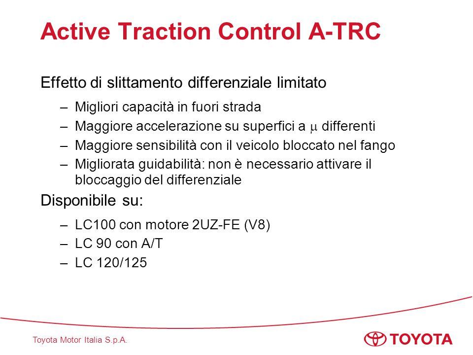 Toyota Motor Italia S.p.A. Active Traction Control A-TRC Effetto di slittamento differenziale limitato –Migliori capacità in fuori strada –Maggiore ac