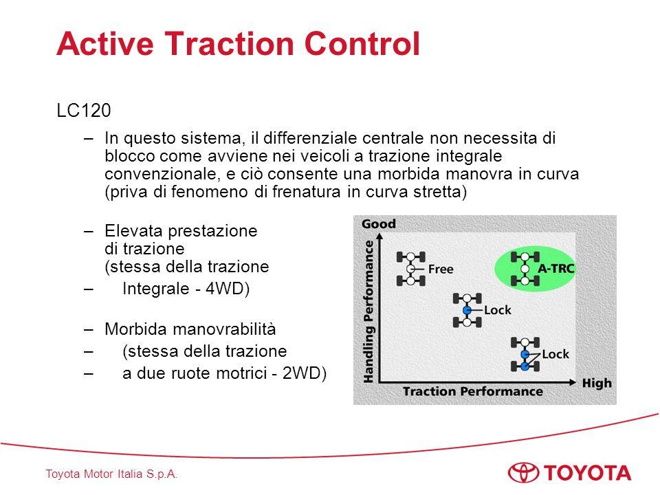 Toyota Motor Italia S.p.A. Active Traction Control LC120 –In questo sistema, il differenziale centrale non necessita di blocco come avviene nei veicol