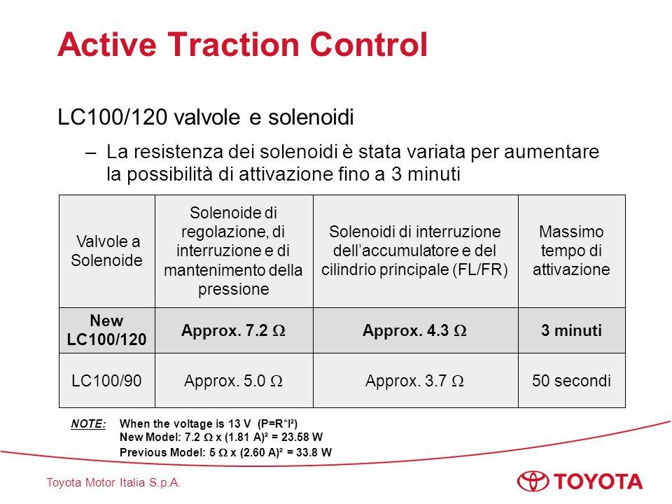 Toyota Motor Italia S.p.A. Active Traction Control LC100/120 valvole e solenoidi –La resistenza dei solenoidi è stata variata per aumentare la possibi