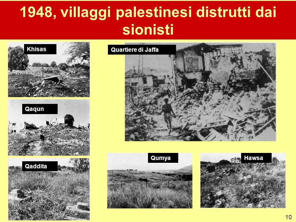 10 1948, villaggi palestinesi distrutti dai sionisti Quartiere di Jaffa Qaqun Qumya Qaddita Khisas Hawsa