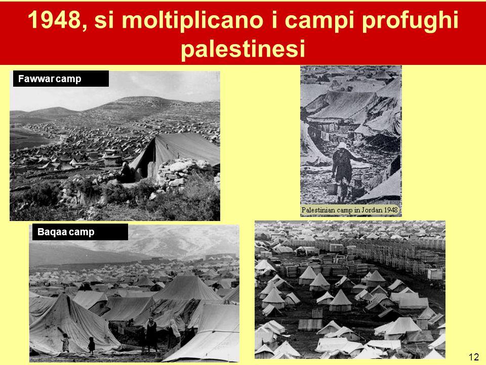 12 1948, si moltiplicano i campi profughi palestinesi Fawwar camp Baqaa camp