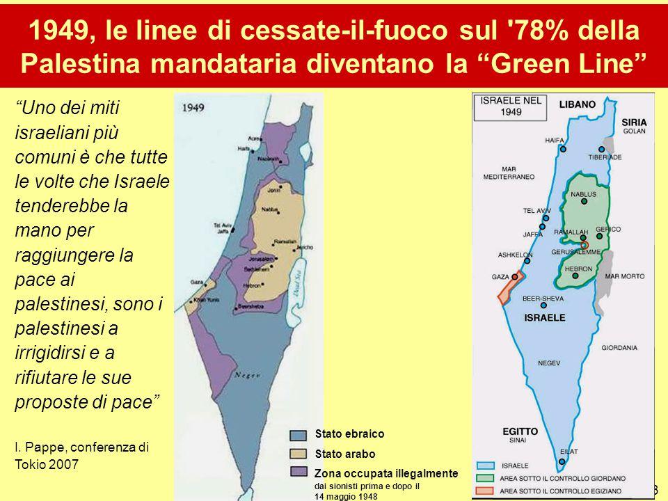 """13 1949, le linee di cessate-il-fuoco sul '78% della Palestina mandataria diventano la """"Green Line"""" """"Uno dei miti israeliani più comuni è che tutte le"""