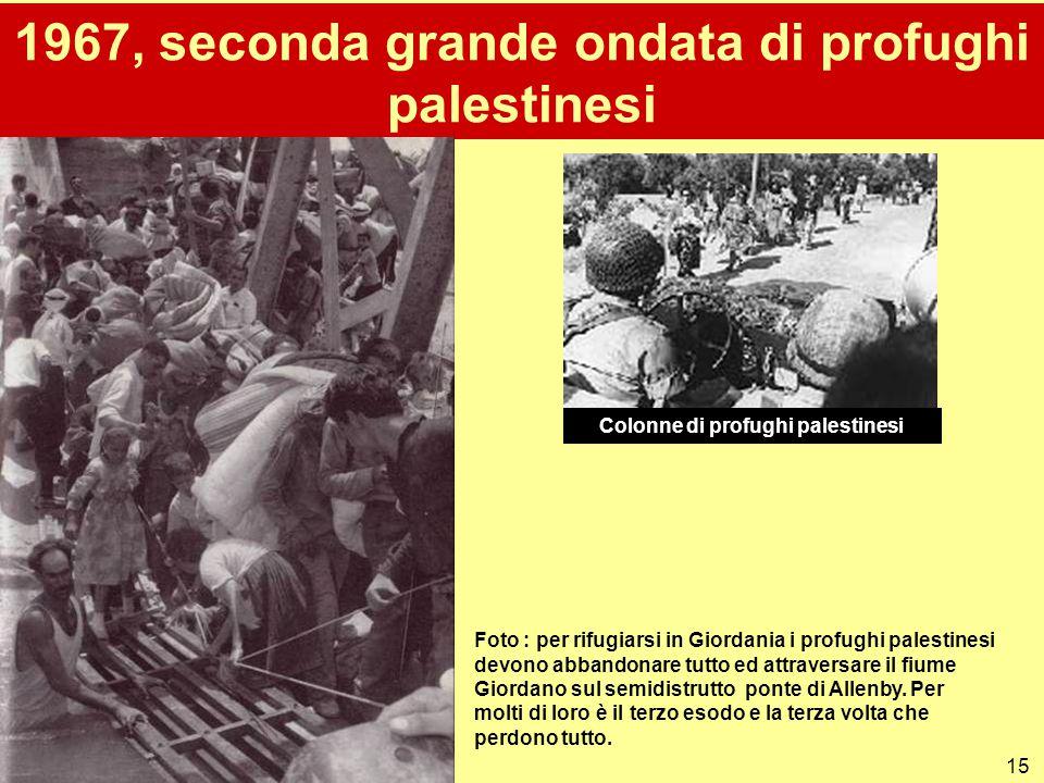 15 1967, seconda grande ondata di profughi palestinesi Foto : per rifugiarsi in Giordania i profughi palestinesi devono abbandonare tutto ed attravers