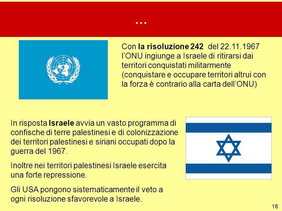 16 … Con la risoluzione 242 del 22.11.1967 l'ONU ingiunge a Israele di ritirarsi dai territori conquistati militarmente (conquistare e occupare territ