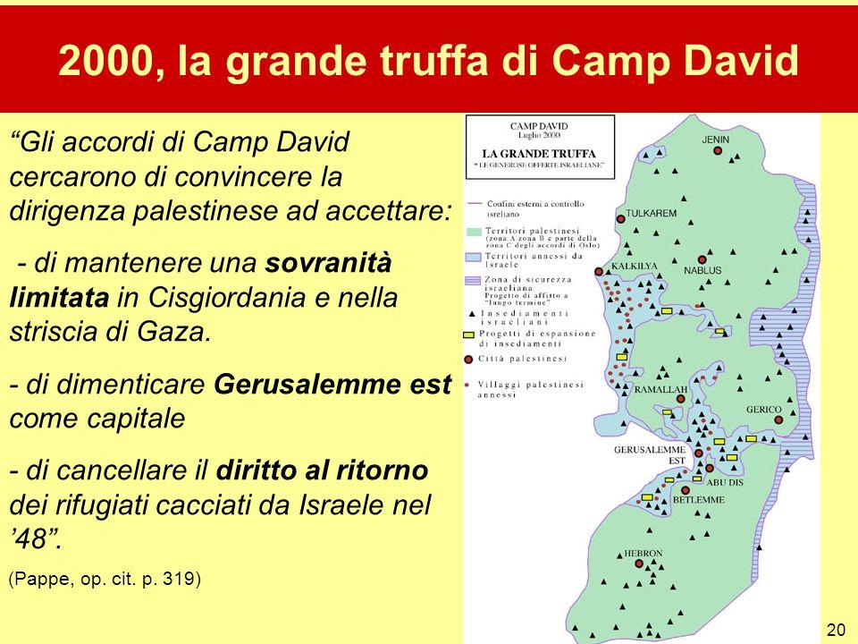 """20 2000, la grande truffa di Camp David """"Gli accordi di Camp David cercarono di convincere la dirigenza palestinese ad accettare: - di mantenere una s"""