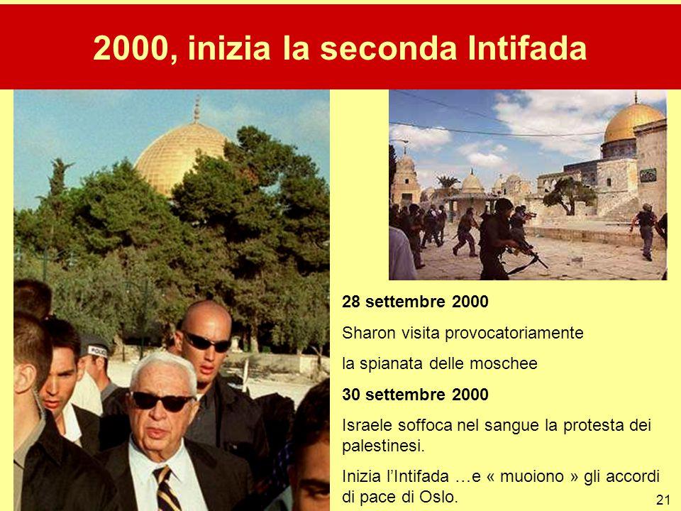 21 28 settembre 2000 Sharon visita provocatoriamente la spianata delle moschee 30 settembre 2000 Israele soffoca nel sangue la protesta dei palestines