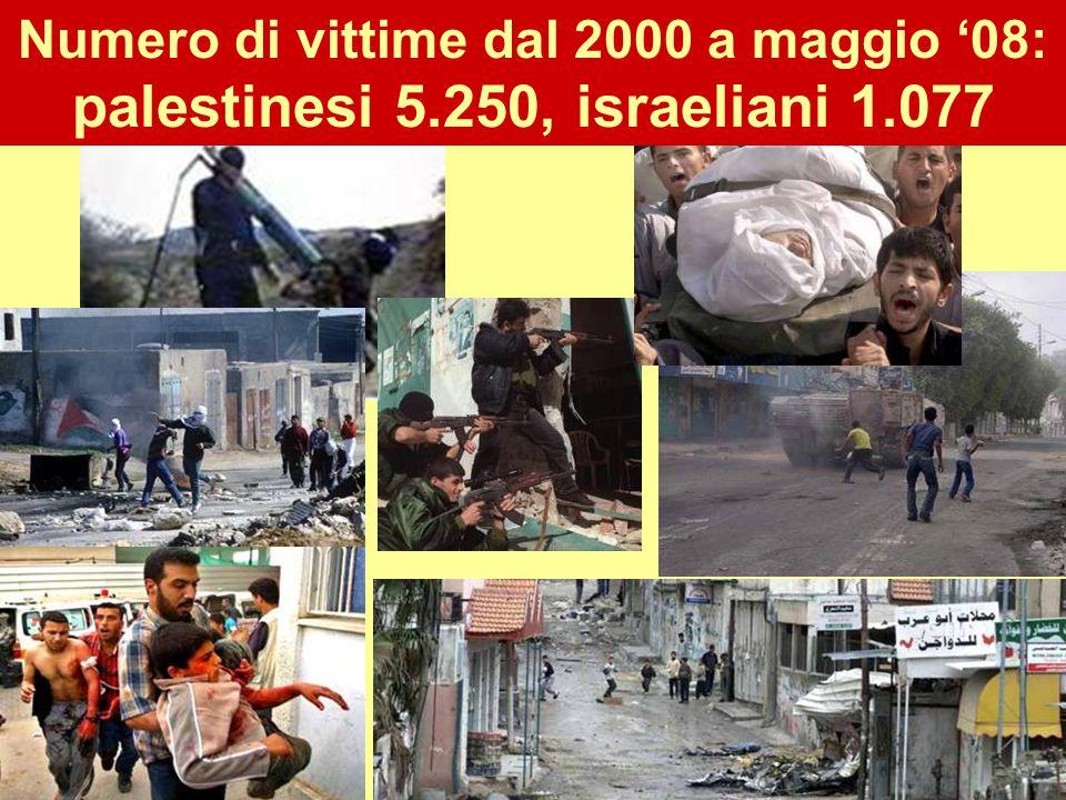 23 Numero di vittime dal 2000 a maggio '08: palestinesi 5.250, israeliani 1.077