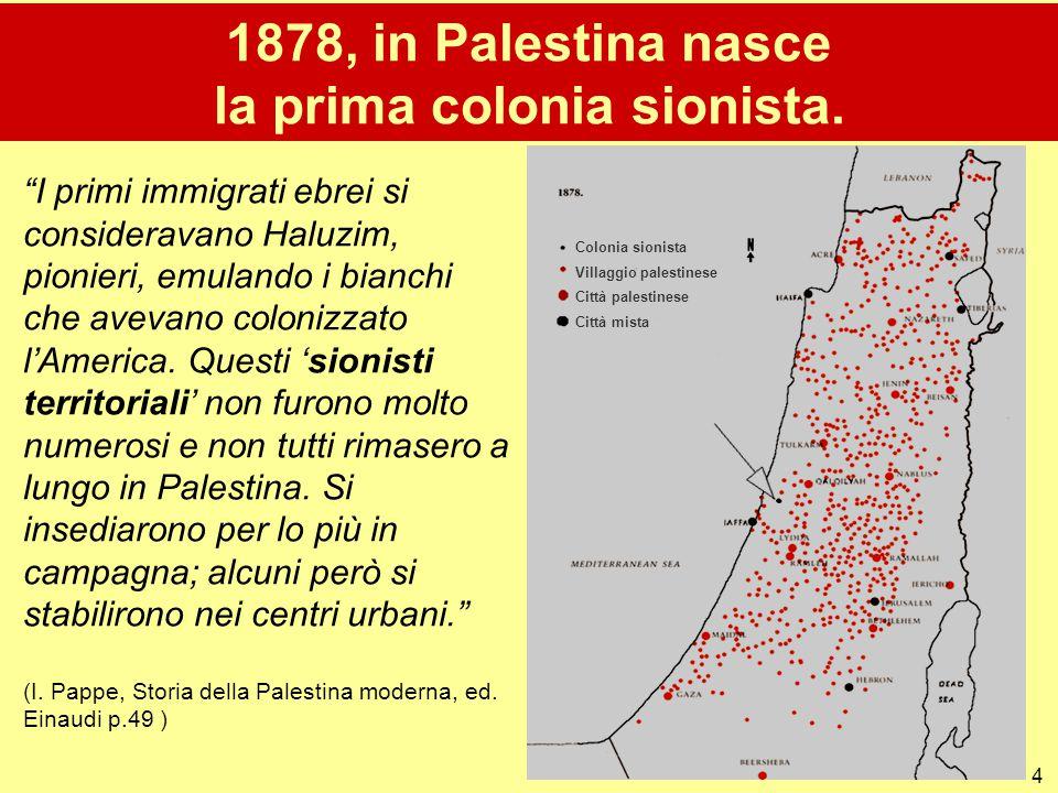 """4 1878, in Palestina nasce la prima colonia sionista. """"I primi immigrati ebrei si consideravano Haluzim, pionieri, emulando i bianchi che avevano colo"""