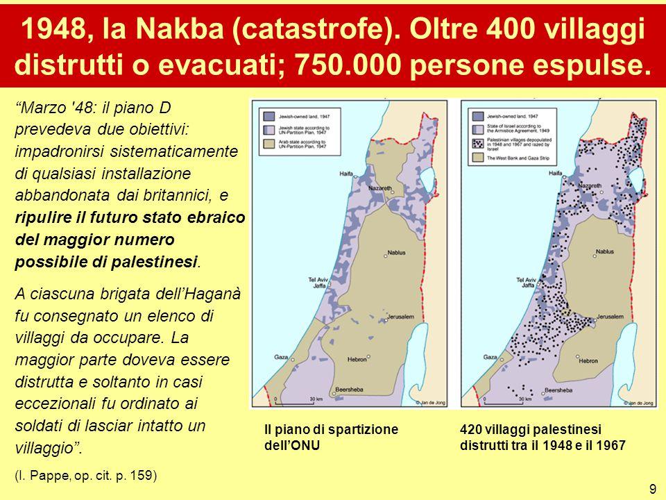 """9 1948, la Nakba (catastrofe). Oltre 400 villaggi distrutti o evacuati; 750.000 persone espulse. """"Marzo '48: il piano D prevedeva due obiettivi: impad"""