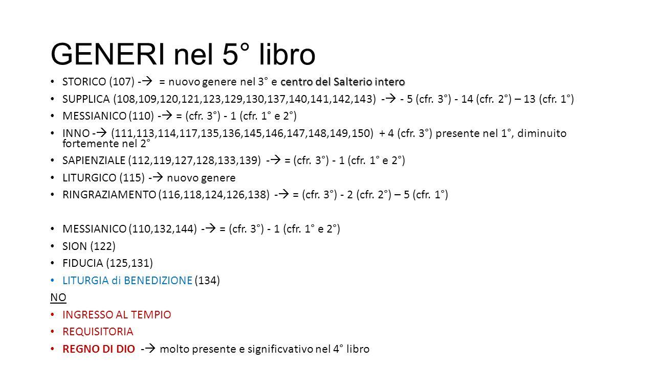 GENERI nel 5° libro centro del Salterio intero STORICO (107) -  = nuovo genere nel 3° e centro del Salterio intero SUPPLICA (108,109,120,121,123,129,130,137,140,141,142,143) -  - 5 (cfr.