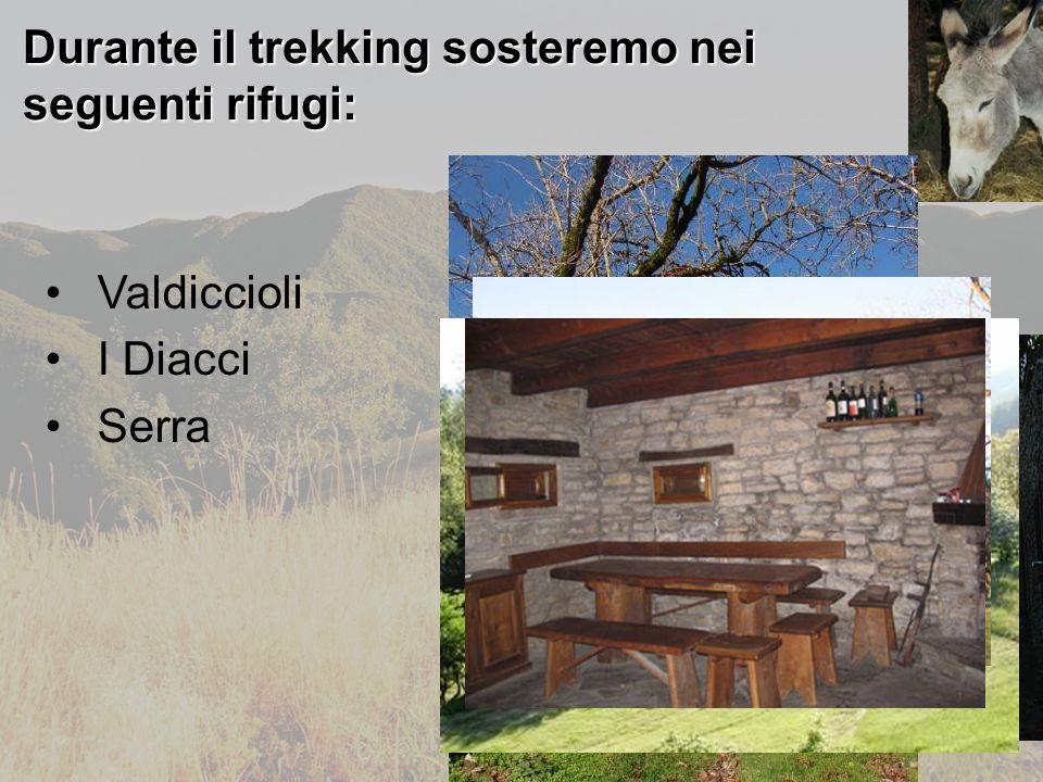 Durante il trekking sosteremo nei seguenti rifugi: Valdiccioli I Diacci Serra