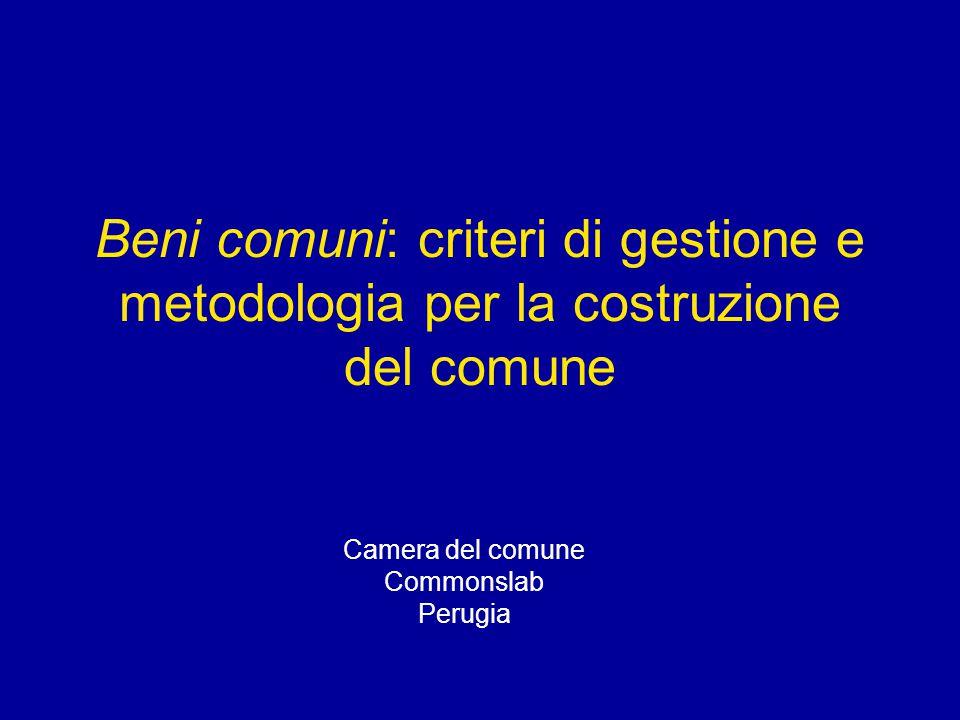 Beni comuni: criteri di gestione e metodologia per la costruzione del comune Camera del comune Commonslab Perugia