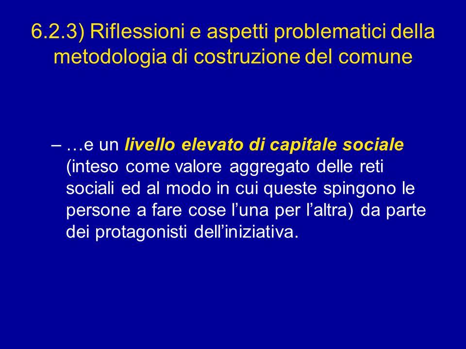 6.2.3) Riflessioni e aspetti problematici della metodologia di costruzione del comune –…e un livello elevato di capitale sociale (inteso come valore aggregato delle reti sociali ed al modo in cui queste spingono le persone a fare cose l'una per l'altra) da parte dei protagonisti dell'iniziativa.