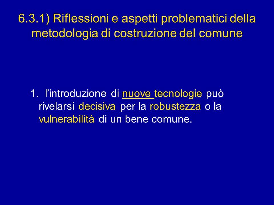6.3.1) Riflessioni e aspetti problematici della metodologia di costruzione del comune 1.